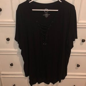 Maurice's Black Cage Front Tee
